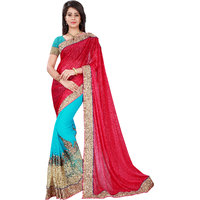 Aaina Red & Rama Chiffon+Lycra Embroidered Saree