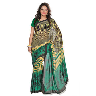 Aaina Green Faux Georgette Printed Saree