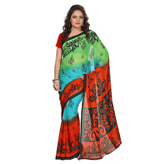 Aaina Green & Yellow Faux Georgette Printed Saree