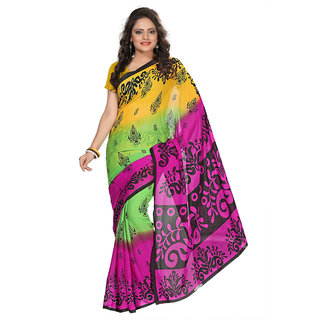 Aaina Yellow & Pink Faux Georgette Printed Saree