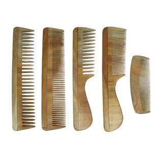 Prakrita Handicraft Pack of 5 Comb Made of Neem Wood