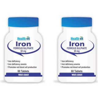 Healthvit Iron 65Mg 60 Tablets (Pack Of 2)
