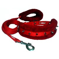 Petshop7 High Quality Spiked Nylon Dog Collar  Leash With Fur-1.25 Inch-Red