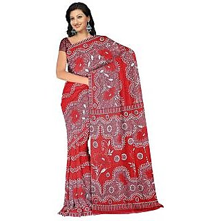 Fabdeal Casual Wear Red Colored Heavy Faux Georgette Sarees