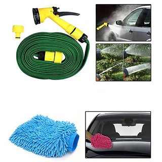Takecare Car Cleaning Combo Of 10M Water Spray Hose Gun + Microfiber Glove For Fiat Linea