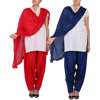 Womens Cottage Combo Pack of 2 Cotton Patiala  Dupatta Set