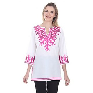 Sea Fan Tunic,Cotton Contrast Embroidery Details on Neck and Edges