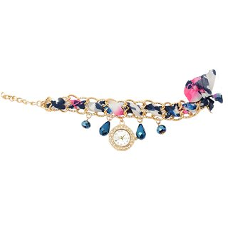 shopaholic fashion printed ribben bracelet with crystal and watch