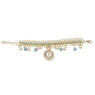 shopaholic fashion turquiose designer charms with pearls and crystal watch
