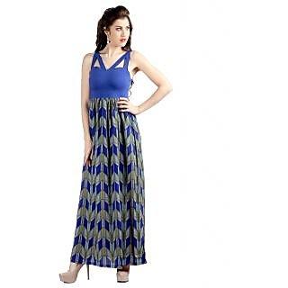 Vinegar Elegant Long Blue Dress for Women