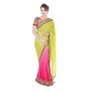 Rasika Brown Chanderi Self Design Saree With Blouse