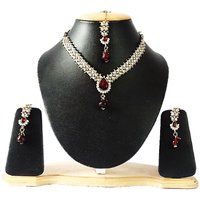 The Pari MaroonGolden Alloy Silver Plated Necklace Set For Women