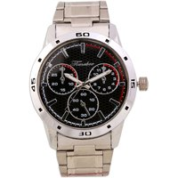 Timebre Round Dial Silver Leather Strap Quartz Watch For Men