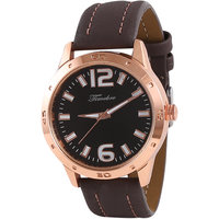 Timebre Round Dial Brown Leather Strap Quartz Watch For Men