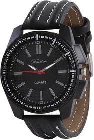 Timebre Round Dial Black Leather Strap Quartz Watch For Men