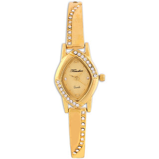 Gravity Oval Dial Golden Metal Strap Women Watch
