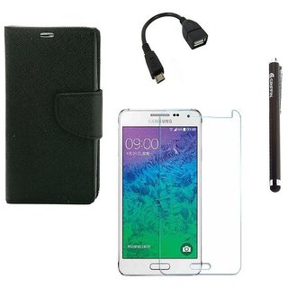 Ygs Diary Wallet Case Cover  For   Samsung Galaxy J2-Black  With Tempered Glass ,Micro Otg  And Griffin Stylus Pen
