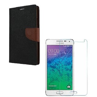 Ygs Diary Wallet Case Cover  For   Samsung Galaxy J2-Black Brown With Tempered Glass