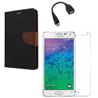 Ygs Diary Wallet Case Cover  For   Samsung Galaxy J2-Black Brown With Tempered Glass ,Micro Otg