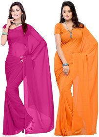 Bhuwal Fashion Peach Georgette Plain Saree Without Blouse