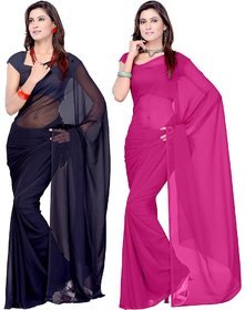 Bhuwal Fashion Black  Pink Georgette Plain Saree Without Blouse