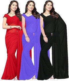 Bhuwal Fashion Faux Georgette solid Multi colours combo Combo of 3 Dyed saree