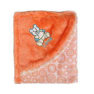 Garg Teddy Love Fur Design Polar Fleece Peach Blanket With Hood