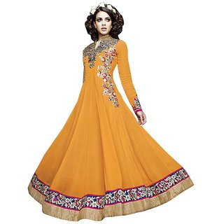 Z Fashion Georgette Floor Touch Long Anarkali Semi Stitched Designer Dress Mater