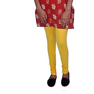 Womens Cottage Yellow Cotton Lycra Leggings