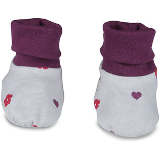Nino Bambino Purple  White Organic Cotton Roll Over Booties