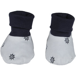 Nino Bambino Navy Blue Organic Cotton Roll Over Booties