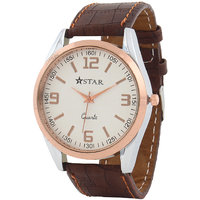 T STAR UFT-TSW-004-WH-BR White Dial Brown Strap Round Analog Watch For Men