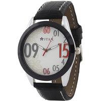 T STAR UFT-TSW-006-WH-BK White Dial Black Strap Round Analog Watch For Men