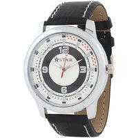 T STAR UFT-TSW-010-WH-BK White Dial Black Strap Round Analog Watch For Men