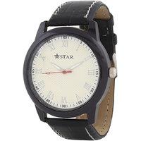 T STAR UFT-TSW-011-WH-BK White Dial Black Strap Round Analog Watch For Men