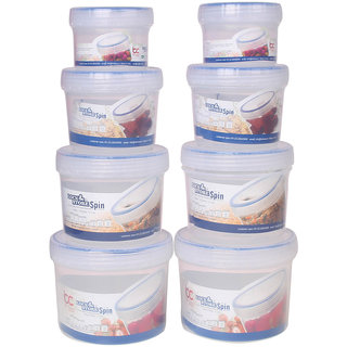 Bel Casa Lock  Store Spin Set of 8 Pieces (150 ml x 2, 300 ml x 2, 500 ml x 2 and 730 ml x 2), Clear