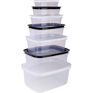 Bel Casa Platinum Container Set of 7 Pieces, White and Black