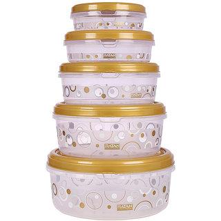 Ratan Plastics Sapphire Container Set of 5, Gold