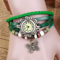 Vintage/Retro Leather Women Bracelet Green Wrist Watch Cute Butterfly Pendant