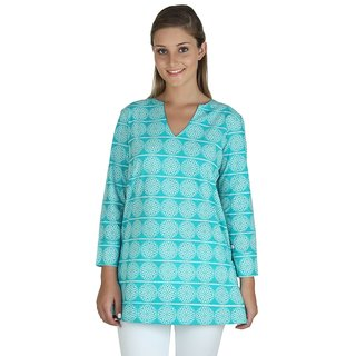 Vegmine Printed Womens V-Neck Kurti