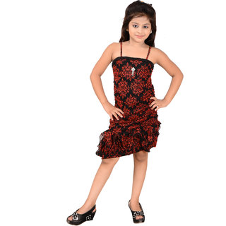 MID AGE Red Girl's Party Wear Dress
