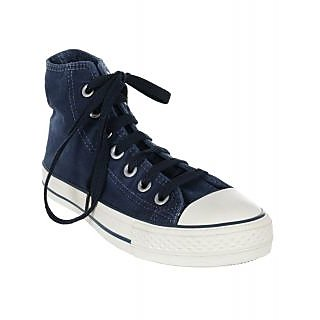 Mens Dark Blue Ankle Lace Up Canvas Shoe