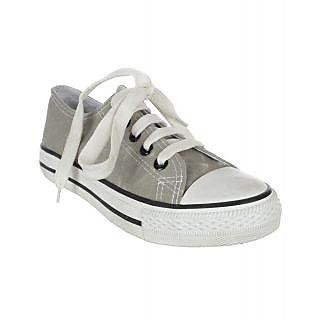 Mens Short Lace Up Denim Grey Canvas Shoe