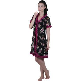 Buy Vixenwrap Black Floral Print Nightgown Online - Get 0% Off 66bfad484