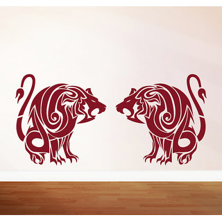 Decor Kafe Lions Roaring Wall Sticker (24x11 Inch)