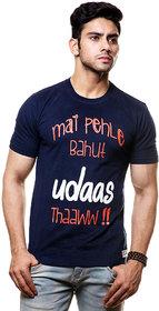 Enquotism Blue Round Neck Half Sleeve T-Shirt For Men