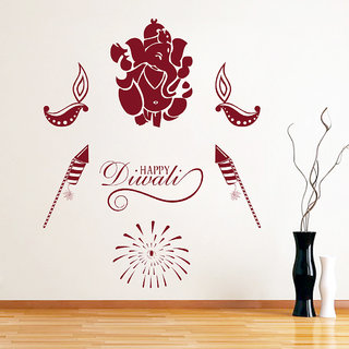 Decor Kafe Happy Diwali Wall Sticker (20x25 Inch)