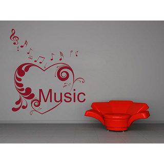 Decor Kafe Floral Heart Music Wall Sticker (19x22 Inch)