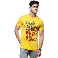 Enquotism Men's Yellow Round Neck T-Shirt