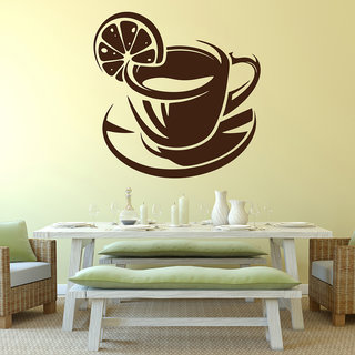 Decor Kafe Lemon Tea Cup Wall Sticker (22x22 Inch)